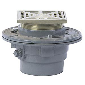 Watts FD-100-M Floor Drain, 5x5 in. Square Top Strainer - Watts FD-100-M Floor Drain with 5x5 square top strainer, Nickel Bronze, with 2 to 4 inch size NH outlet (Specify Outlet). Price/Each.