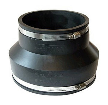 Drain Coupling, 6 to 5 in. Straight Adaptor, PVC Rubber - 6 to 5 Inch Drain Coupler / Connector / Reducer. Adapts 6 to 5 Inch pipes, with 2 Stainless Steel Clamps. Price/Each.
