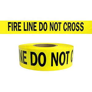 FIRE LINE DO NOT CROSS Barricade Tape, 3-mil, 1000 ft., 8 rolls - YELLOW -FIRE LINE DO NOT CROSS- BARRICADE TAPE 3 INCH WIDE x 1000 FEET, 3-MIL. 8 ROLLS/CASE. PRICE/CASE.