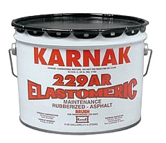 KARNAK #229AR WATERPROOF SEALANT, BRUSH GRADE - Karnak #229AR Elastomeric Waterproofing & Flashing Repair Mastic. BRUSH Grade. 3-Gallons/Pail. Price/Pail. (70 pails/pallet; ground shipment only).