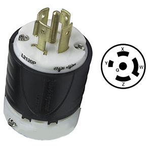 20 Amp 120-208VAC, 4 Pole 5 Wire, Electrical Plug - L21-20P (L21-20) Male Electrical Plug, UL / Nema Grade Heavy-Duty 20 Amp 120V-208VAC Male Twist Type Locking Plug, 4-Pole, 5-wire, 3-Phase Electrical Connector. Price/Each.