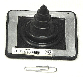 Mini-2 Black EPDM Square-Base Flashing Boot, 1-1/2 High (1) - MINI 2, BLACK EPDM SQUARE BASED FLASHING BOOT. 2-3/4 x 2-3/4 INCH SQUARE BASE, 1-1/2 INCH HIGH, CLOSED TOP. FITS 0 to 3/4 INCH ROUND ANTENNA, PIPE OR ROD. PRICE/EACH. (Deks #DFE 0-20E / DFE100B)