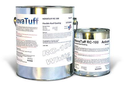 NovaTuff RC-100 Flexible Epoxy Roof Coating, SPECIFY Color (1G) - NovaTuff RC-100 (formerly AES-100) Flexible Epoxy Roof Coating, 2-part Flexible Epoxy Roof Coating System, Class-A Fire Rated, 82% Solids. 1-Gallon Kit. Price/Kit. (Specify COLOR before adding to cart; see detail view for order notes, UPS Ground or truck)