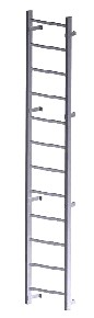 Fixed Wall-Mount Ladder, for Roof Hatch Access, (10-20 ft) - FIXED WALL-MOUNT ROOF ACCESS LADDER, FOR ROOF HATCHES / ROOF ACCESS. 1500 LB CAPACITY, HEAVY-DUTY ALL ALUMINUM CONTSTRUCTION. 10-20 FOOT OPTIONS. PRICE/EACH (specify length before adding to cart; special order, 2 week leadtime, not-returnable)