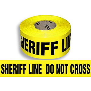 "SHERIFF LINE DO NOT CROSS Barricade Tape, 1000 ft., 3-mil, 8-rolls - BARRICADE TAPE. ""SHERIFF LINE DO NOT CROSS"" BLACK BOLD PRINT ON YELLOW BACKING. 3 INCH WIDE x 1000 FEET, HEAVY DUTY 3-MIL. 8 ROLLS/CASE. PRICE/CASE."
