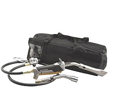 Sievert URK-4 Ultimate Repair Kit, For Bitumen And Single Ply - Sievert URK-4 Ultimate Repair Kit, Hot-Air Torch System for Modified Bitumen and Single-Ply Roofing. Promatic Handle and 2 burners (single ply and Bitumen types) for complete repair flexibility. Price/Kit.