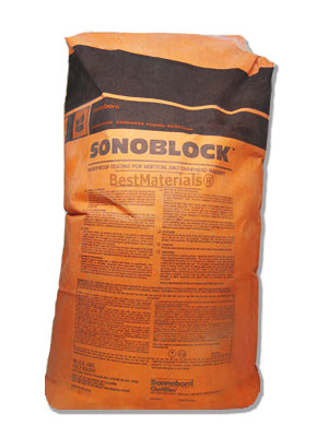 Sonoblock Waterproofing, Gray Color, 50 Lb. Bag - BASF Sonoblock Portland Cement Based Waterproof Coating. Smooth Finish. GRAY color, 2-Component. 50 LB. Price/Bag. (clearance pricing, old stock)