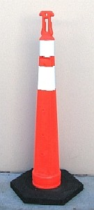 Stackable Delineator, 48 inch, T-Top, 2-Stripes, 18 Lb Base - STACKABLE DELINEATOR SAFETY SET, 48 INCH HIGH, ORANGE FLUORSCENT COLOR, T-TOP POST, 2 SAFETY REFLECTOR STRIPES, WITH 18 LB. BASE. PRICE/SET. (Speical Order. 2 week leadtime. 50 unit order min. Email us for discount freight rates on large orders)