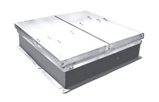 5 Ft X 10 Ft Acoustical Roof Smoke Vent, Galv., UL/FM Approved - ACOUSTICAL STC-45 GRADE ROOF SMOKE VENT / FIRE VENT, 6x10 FOOT, 165F FUSEABLE LINKS / AUTO OPEN, DUAL GALV. 4-STEEL DOORS (2-UPPER, 2-LOWER), GALV. STEEL CURB MOUNT, UL & FM APPROVED. PRICE/EACH. (see detail view ordering notes)