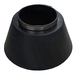 EPDM Pipe Storm Collar, 3 inch - 3 inch Storm Collar (NOT SPLIT/RETRO). 3.5 ID EPDM Solid Assembly with stainless steel marine grade band clamp. Fits 3.4 to 3.5 OD & DN80 pipes. Price/Each.