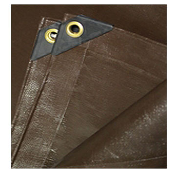 24 X 36 foot Super Duty Brown Tarp - 24 X 36 foot Super Duty BROWN/BROWN Tarp. Super Heavy Duty HDPE Fabric features high UV resistance, 1200 denier, 8 oz/sq yard, 16x16 weave 16 mil thick, heat sealed waterproof seams, metal grommets, reinforced hems. Price/Tarp..
