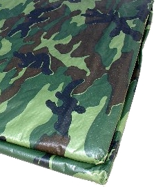 20 ft. x 20 ft. Green Camouflage Tarp, 8x8 Weave (1) - 20 FT. X 20 FT. GREEN CAMOUFLAGE TARP. 8x8 WEAVE, 2.9 OZ, 5-6 MILS THICK. PRICE/TARP.