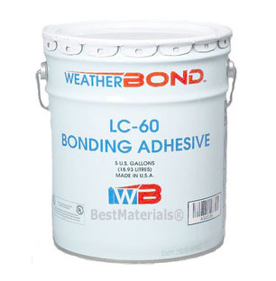 EPDM LC-60 Bonding Adhesive, Solvent Based (1G) - LC-60 LIQUID BONDING ADHESIVE BY WEATHERBOND. FOR EPDM ROOFING. COVERAGE: 60 sqft/G. ONE-GALLON CAN. PRICE/CAN. (Flammable item. UPS Ground or Truck Shipment Only. High VOC, cannot ship to SCAQMD areas).
